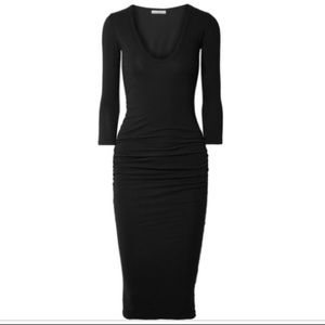 James Perse ruched long sleeve black dress